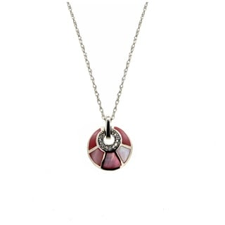 Forever Last Sterling Silver Mother Pearl Pendant On Necklace Pink