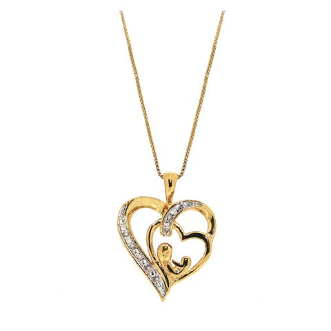 """Forever Last Sterling Silver Gold Plated """" Mother Daughter"""" Pendant on Necklace"""