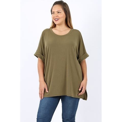 JED Women's Plus Size Relax Fit Split Hem Casual Knit Shirt