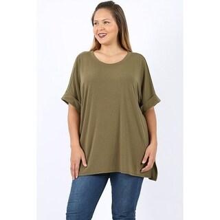 JED Women's Plus Size Relax Fit Split Hem Casual Knit Shirt