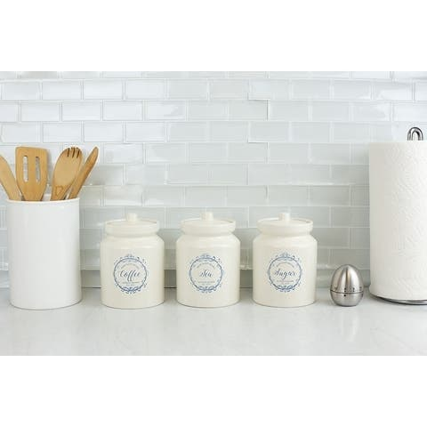 3 Piece Ceramic Canister Set , White