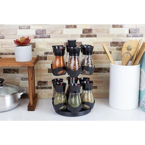 Revolving 12-Jar Two Tier Spice Rack, Black