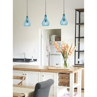 Nina 1-light Hanging Pendant Light - Blue Glass (As Is Item)