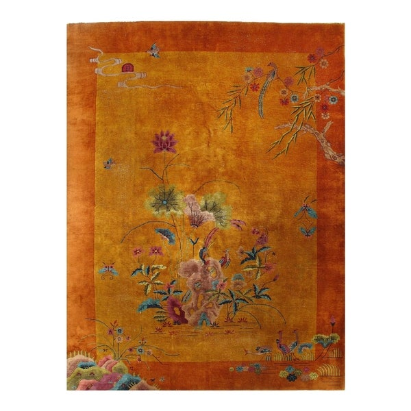 Early 20th Century Antique Chinese Art Deco Area Rug - 9'x 2'