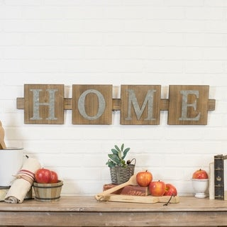 "Wooden metal ""home"" sign"