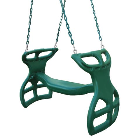 "Gorilla Playsets Dual Ride Glider Swing in Green with Coated Chains - Multi-Child Swing - 38"" L x 16"" W x 24"" H"