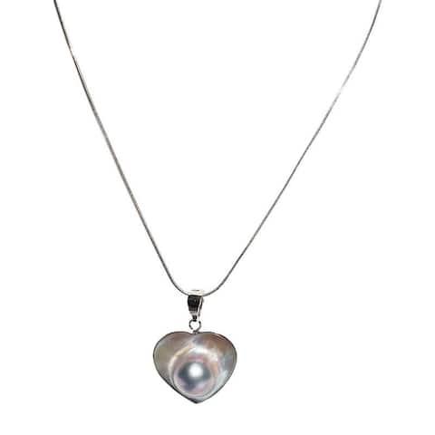 Heart Shaped Blister Pearl Pendant