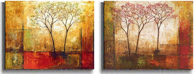 Klung 'Morning Luster' 2-piece Stretched Canvas Set - Thumbnail 1