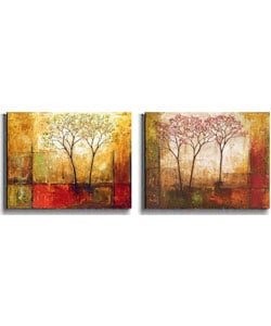 Klung 'Morning Luster' 2-piece Stretched Canvas Set