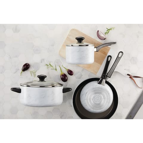 Farberware Designs Aluminum Cookware Set, 16-Piece, White Marble