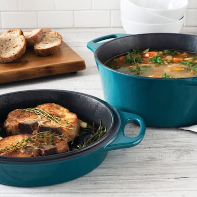 """Rachael Ray Cast Iron 4-Qt. Casserole with 10"""" Griddle, Teal Shimmer"""