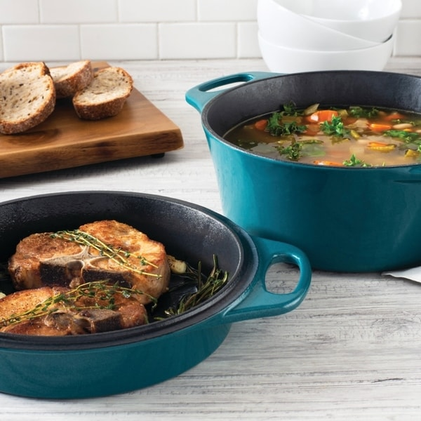 """Rachael Ray Cast Iron 4-Qt. Casserole with 10"""" Griddle, Teal Shimmer. Opens flyout."""