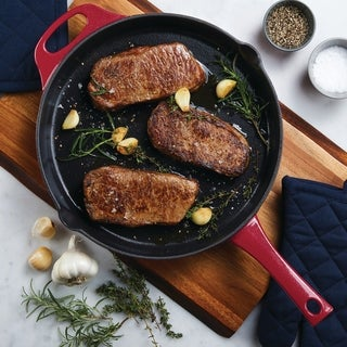 Rachael Ray Cast Iron Skillet, 12-Inch, Red Shimmer