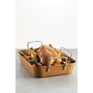 "Ayesha Bakeware Nonstick 11"" x 15"" Roaster with Rack, Copper"