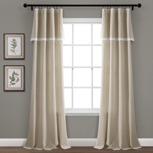 Porch & Den Chateau Lush Decor Linen Lace Window Curtain Panel Pair