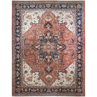 Vintage Indo Serapi, Handknotted Wool Rug - 12' x 18'/12'1'' x 17'9''