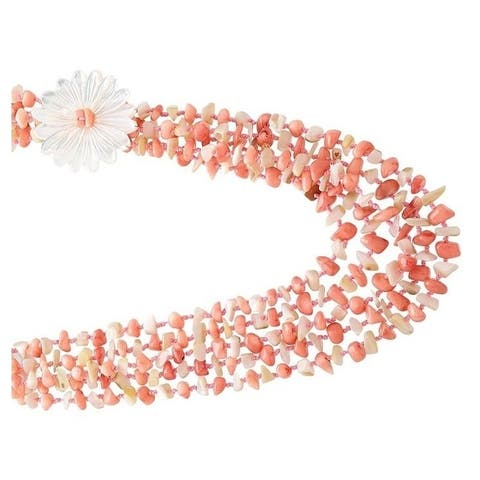 Pearl Lustre Pink Coral with White Mother Of Pearl flower Necklace.