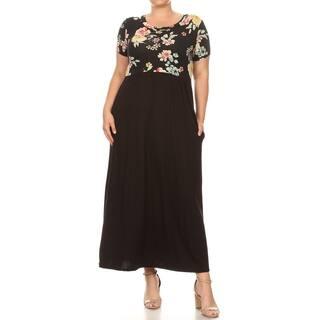 Women's Casual Pattern Print Contrast Skirt Long Plus Size Maxi Dress