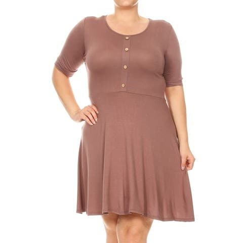 Women's Solid Casual Button Trim Plus Size Midi Classic Dress