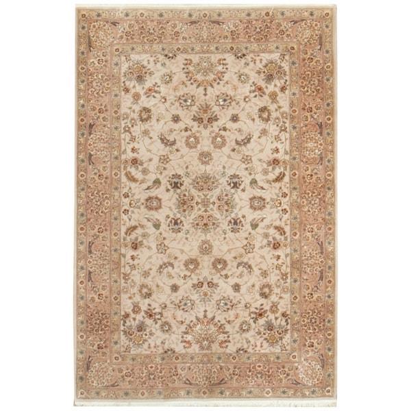 Vintage Oriental, Handknotted Wool and Silk Rug - 4' x 6'