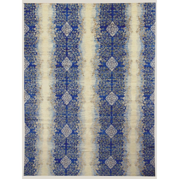 Handknotted Wool Transitional Rug - 8'9'' x 11'9''/9' x 12'