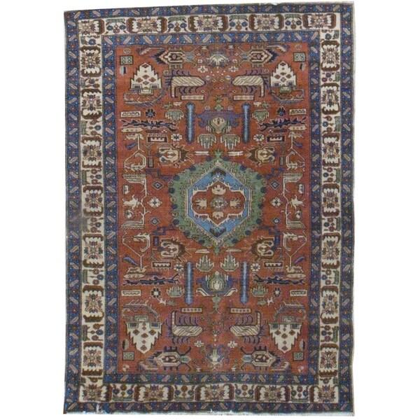 Vintage Oriental, Handknotted Wool Rug - 5' x 7/4'8'' x 6'6''