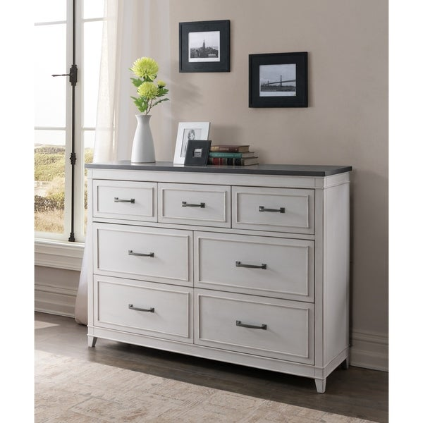 Martin Svensson Home Del Mar 7 Drawer Dresser, White with Grey Top