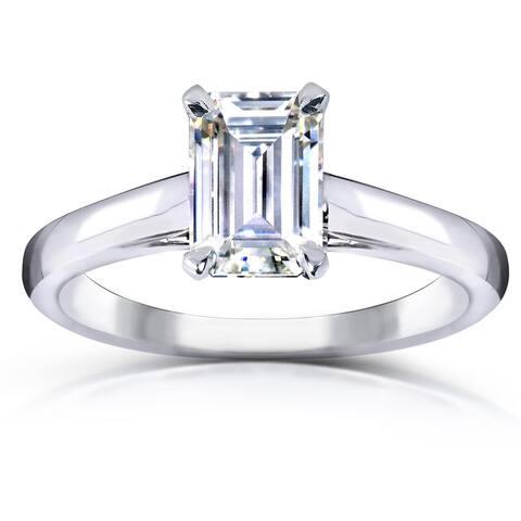 Annello by Kobelli 14k White Gold 1 Carat Emearld Moissanite Solitaire Engagement Ring