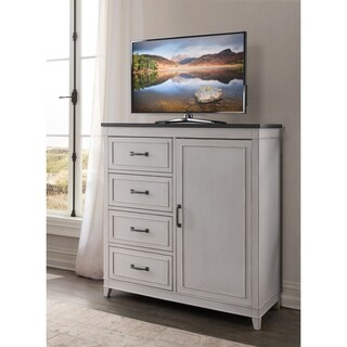 Martin Svensson Home Del Mar 4 Drawer Media Chest, White with Grey Top