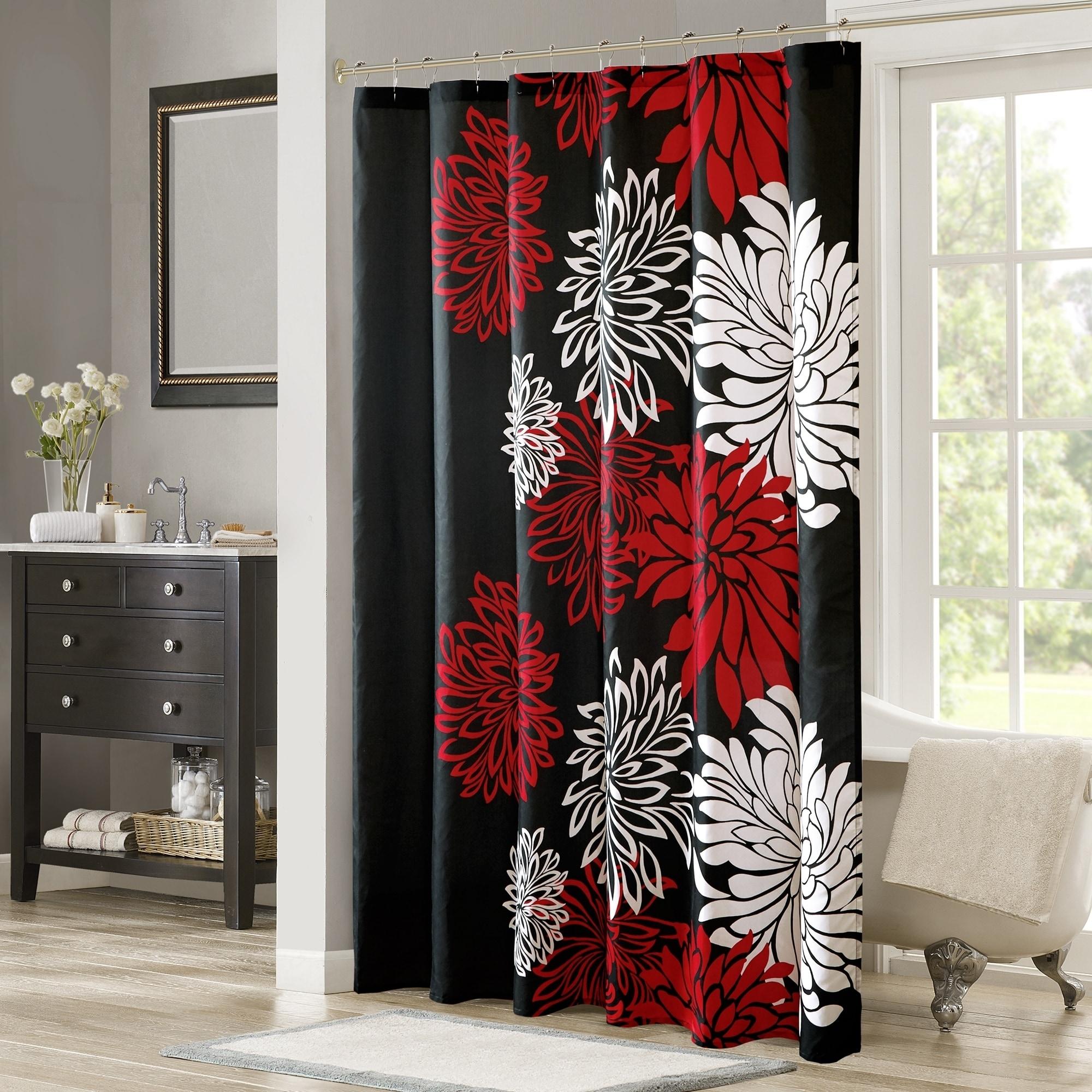 Shop Comfort Spaces Enya Red Black Printed Floral Shower Curtain