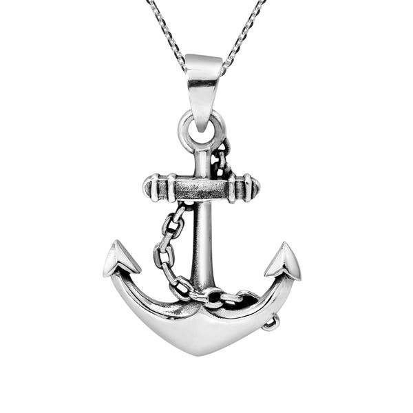 925 Sterling Silver Old Anchor Necklace  Nautical navy jewelry  anchor pendant top  oxidized silver necklace  silver ocean necklace