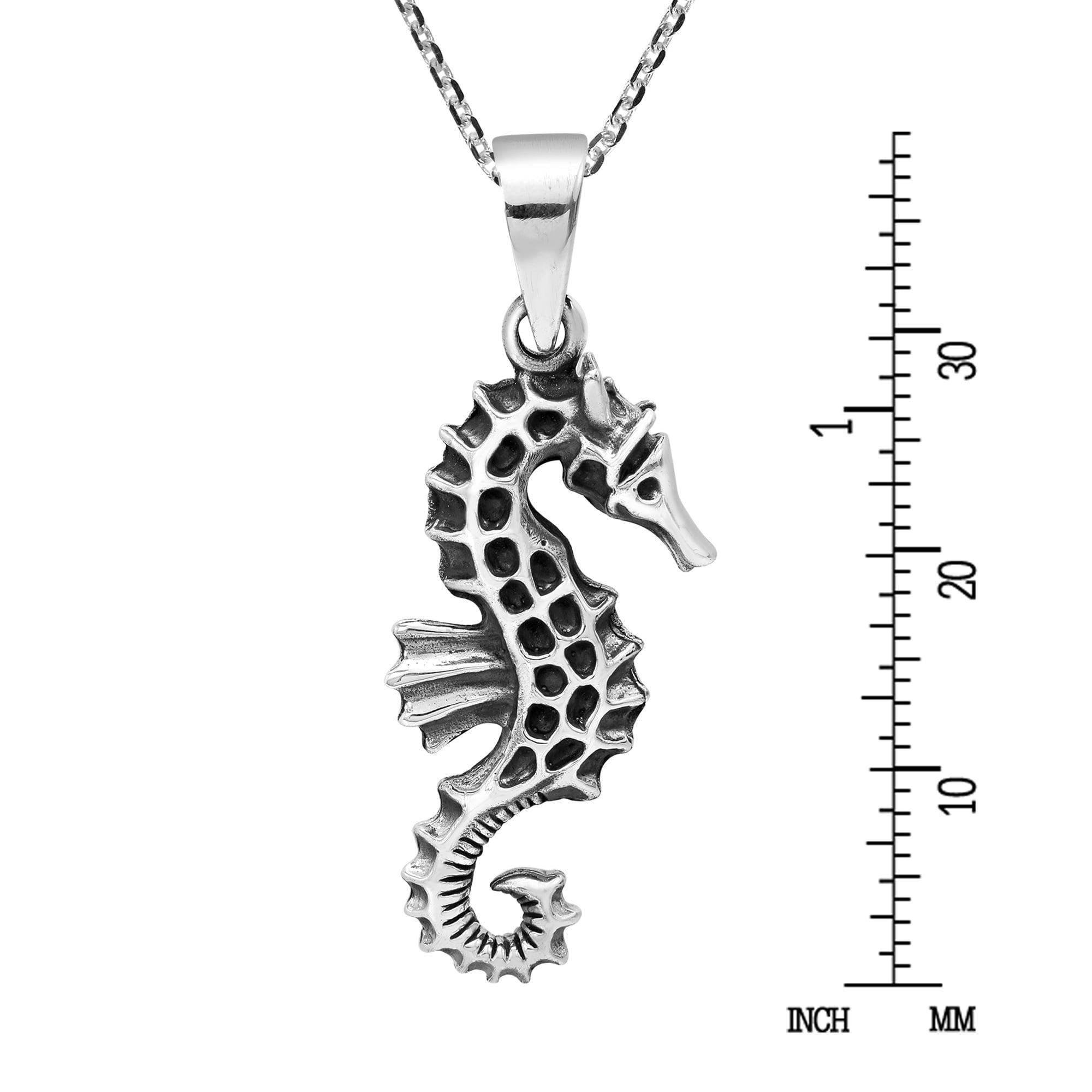 AeraVida Intricate Island Seahorse .925 Sterling Silver Pendant Necklace