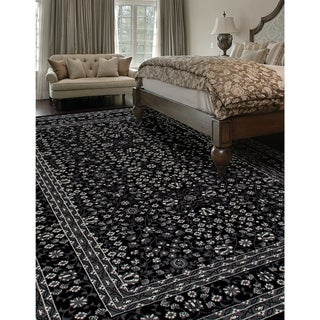 Kennedy Microfloral Black Area Rug