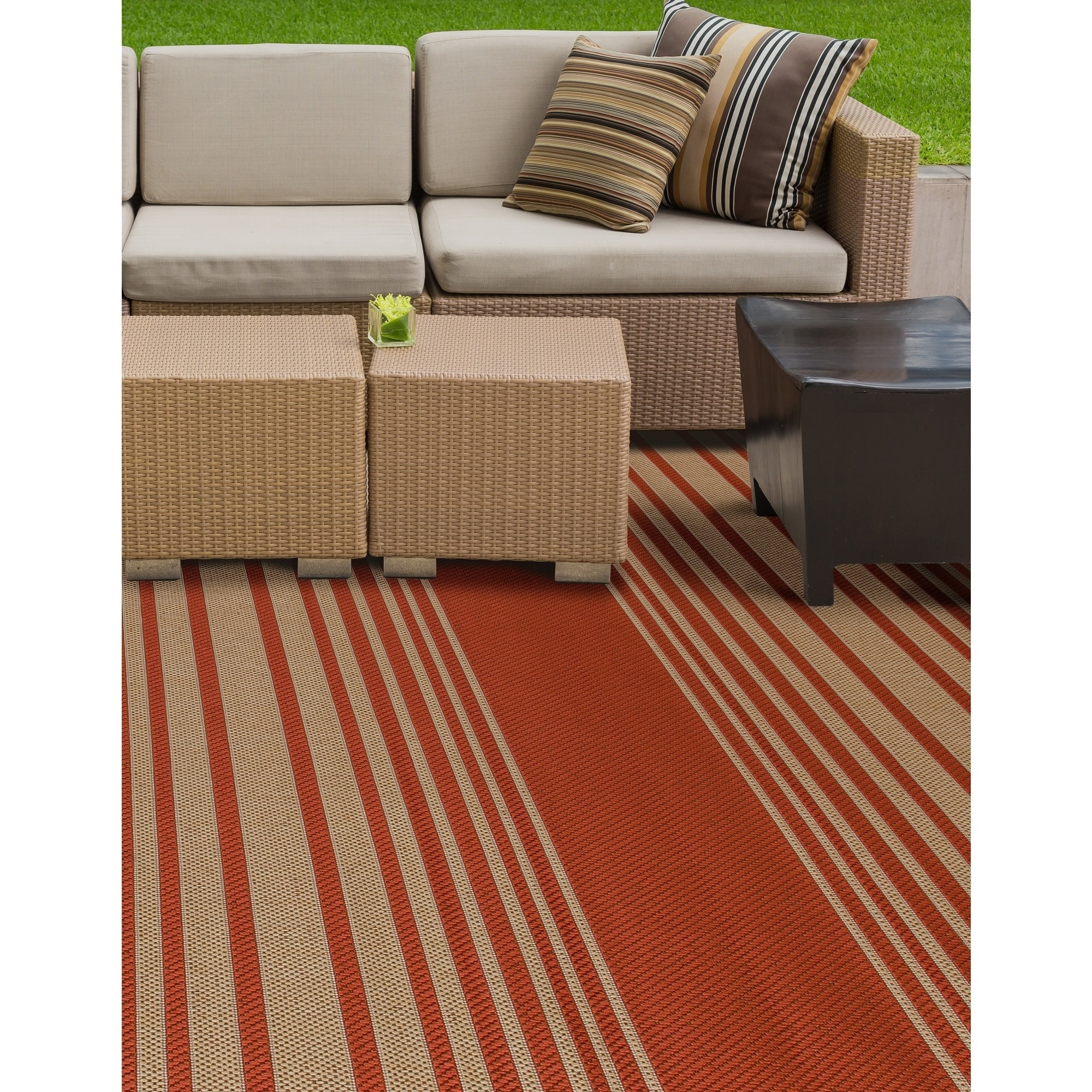 Prisom Nautical Red Indoor Outdoor Rug