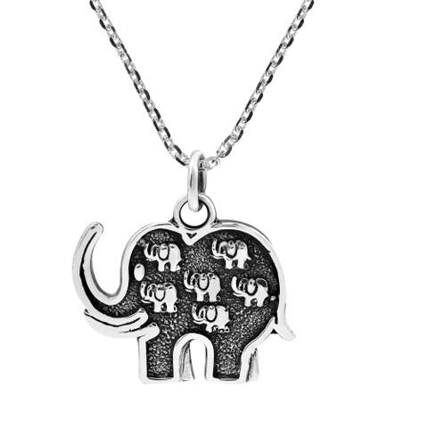 Handmade Thai Elephants Family Love .925 Sterling Silver Pendant Necklace (Thailand)