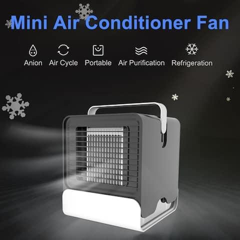 Portable Mini USB Air Conditioner Desk Fan Cooling Humidifier Quiet Anion LED Cooler Desktop Fan Purifier for Home Office