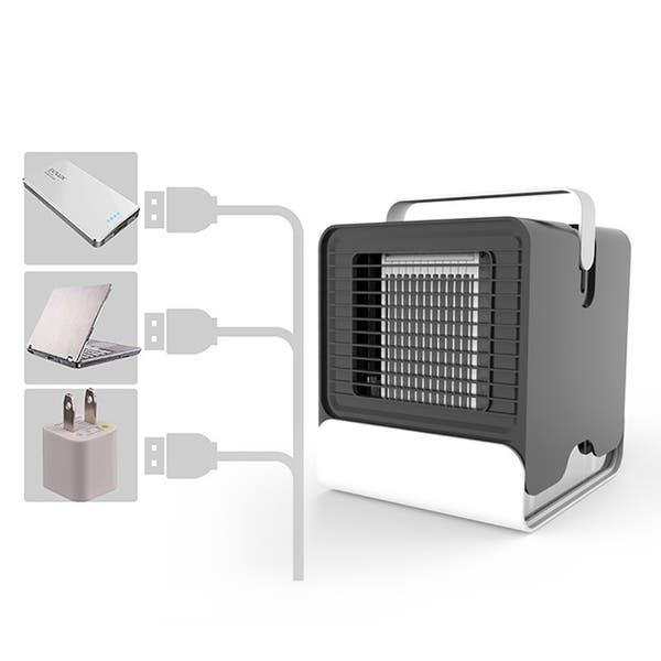 140X155X175mm USB adapter 3 Gear Speed Personal Air Conditioner Fan Portable Air Cooler Blower Noiseless Mini Desktop Humidifier LED Purifier Fan for Bedroom Office Travel