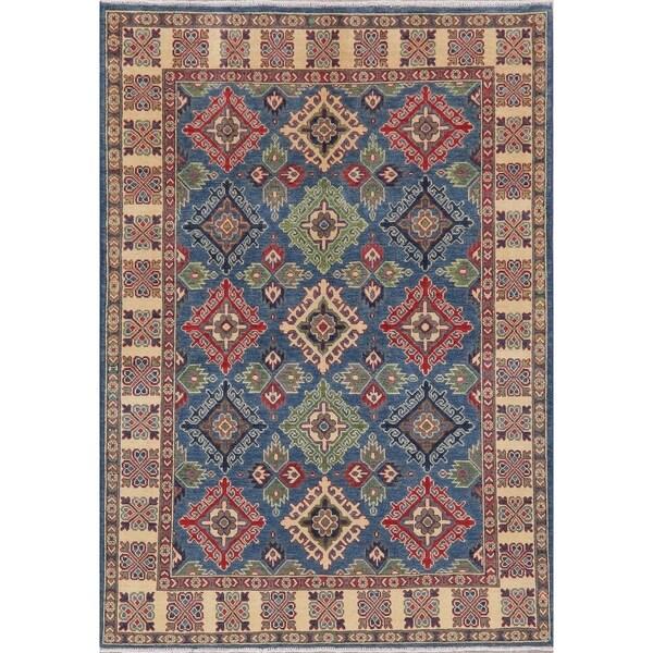 "Oriental Kazak Traditional Hand Knotted Wool Pakistani Area Rug - 7'1"" x 5'0"""