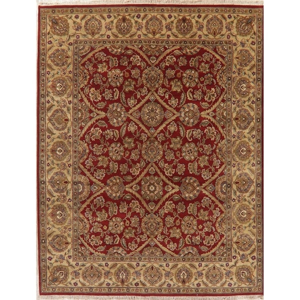 """Agra Oriental Hand Knotted Traditional Wool Indian Area Rug - 10'2"""" x 7'10"""""""