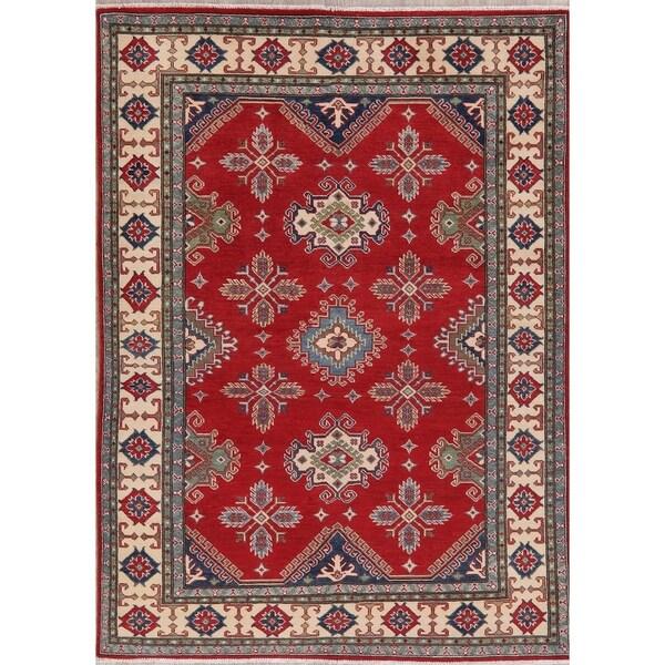 "Kazak Oriental Hand Knotted Wool Pakistani Traditional Area Rug - 7'7"" x 5'6"""