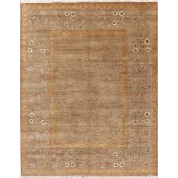 """Aubusson Oriental Traditional Border Hand Knotted Wool Indian Area Rug - 10'1"""" x 7'11"""""""