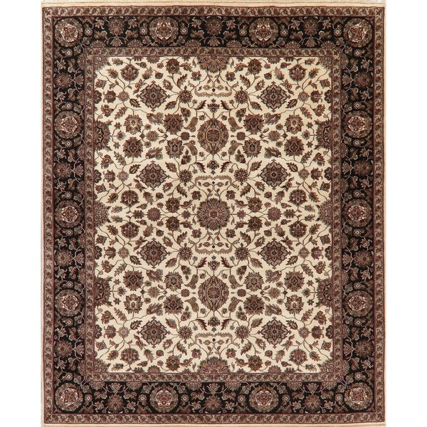 """Agra Oriental Traditional Hand Knotted Wool Indian Area Rug - 9'10"""" x 8'0"""""""