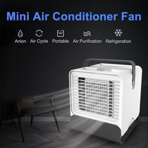 USB Air Conditioner Desk Air Cooler Humidifier Purifier LED Cooling Fan Desktop Cooler Night Light - White