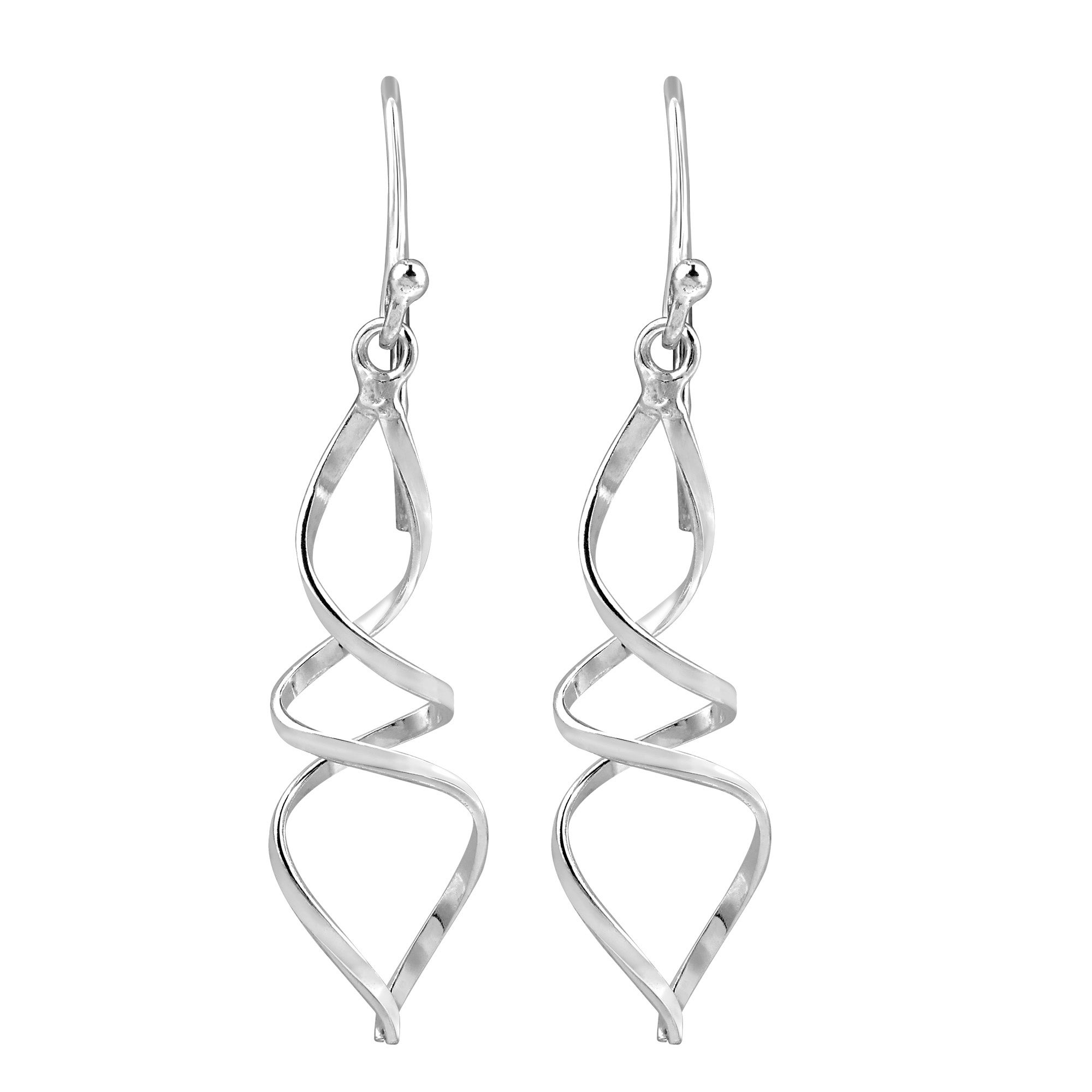 925 Sterling Silver Polished Twisted Dangle Earrings