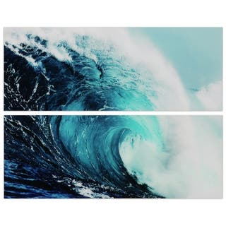 """""""Blue Wave"""" Abstract Wall Art Printed on Frameless Free Floating Tempered Glass Panel - Blue/White"""