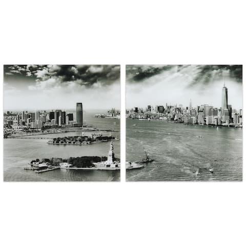 """New York Skyline"" Glass Wall Art Printed on Frameless Free Floating Tempered Glass Panel - Grey"