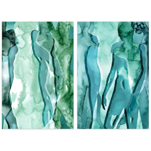 """Water Women"" Glass Wall Art Printed on Frameless Free Floating Tempered Glass Panel - Teal"