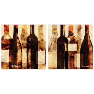 """""""Smokey Wine"""" Glass Wall Art Printed on Frameless Free Floating Tempered Glass Panel - Tan/Brown"""