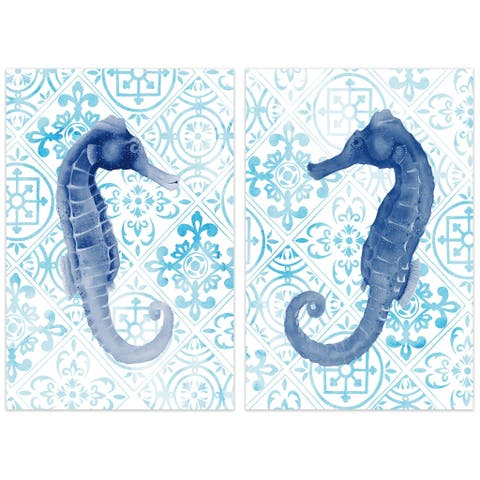 Sea Horse Glass Wall Art Printed on Frameless Free Floating Tempered Glass Panel - Blue