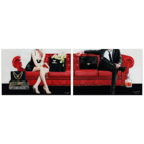 """Lady & Gentleman"" Glass Wall Art Printed on Frameless Free Floating Tempered Glass Panel - Black/Red/White"